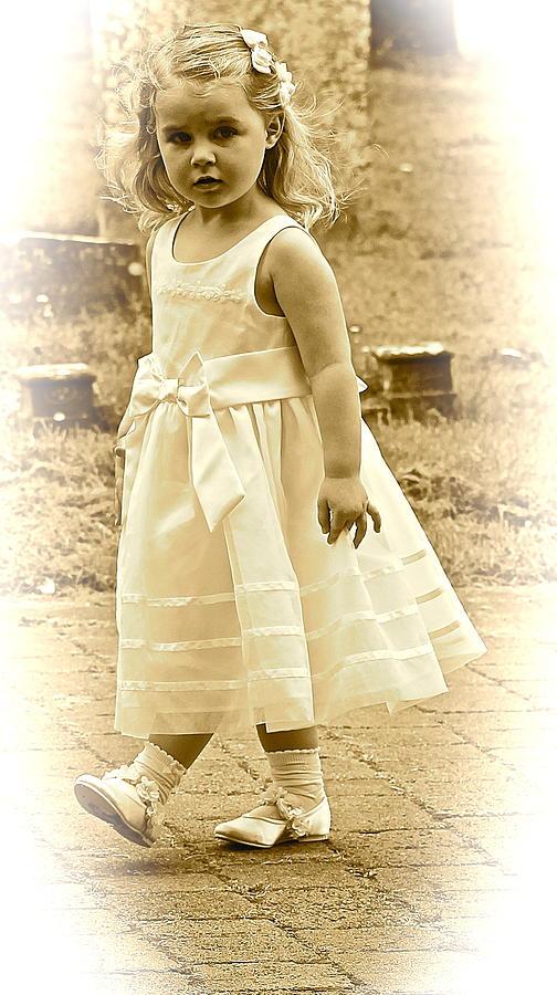 Child Photograph - Flower Girl by Karen Grist