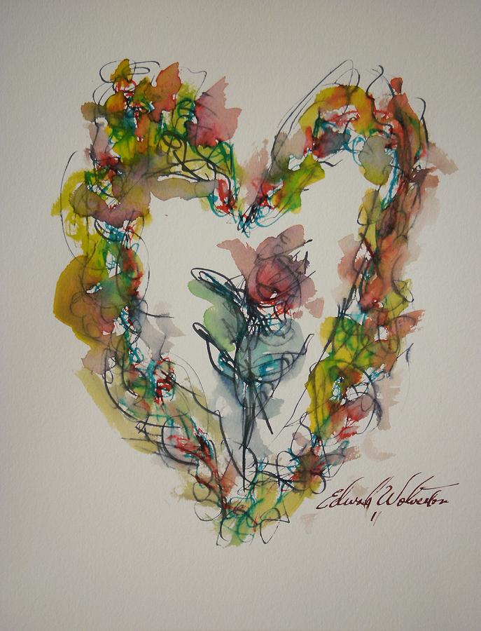 Hearts Of Fire Painting - Flower Heart Song by Edward Wolverton