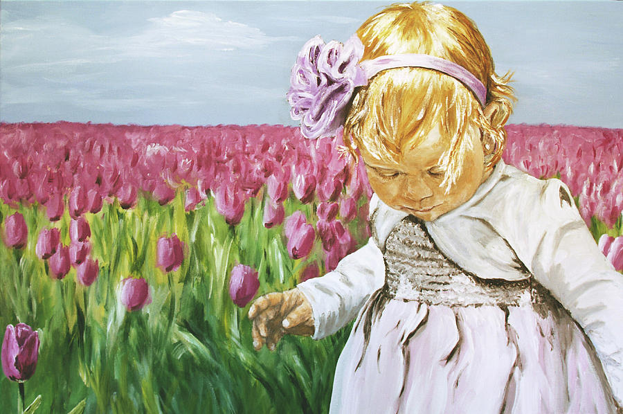 Girl Painting - Flower In Disguise by Elisabeth Dubois