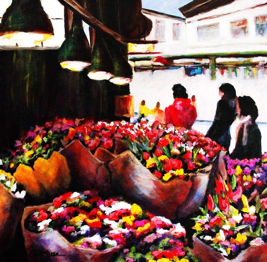 Flower Market Pike Place Market Seattle Wa Painting by ...