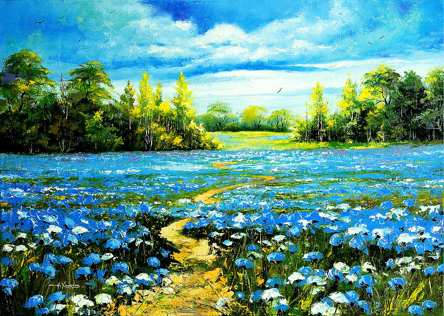 Landscape Painting - Flower Path Way by Nelsons