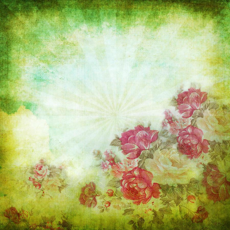 Abstract Photograph - Flower Pattern On Paper by Setsiri Silapasuwanchai