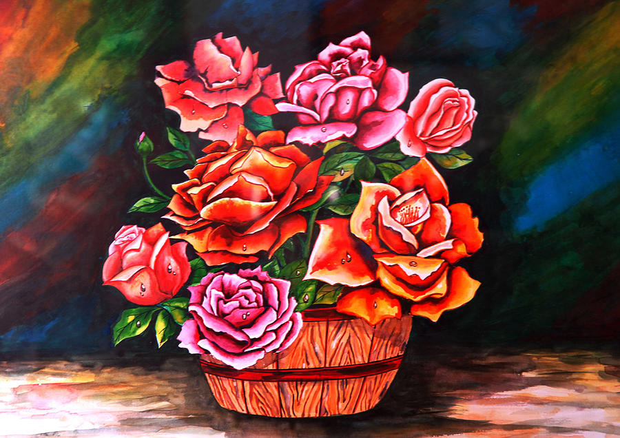 Foral Painting - Flower Pot by Johnson Moya