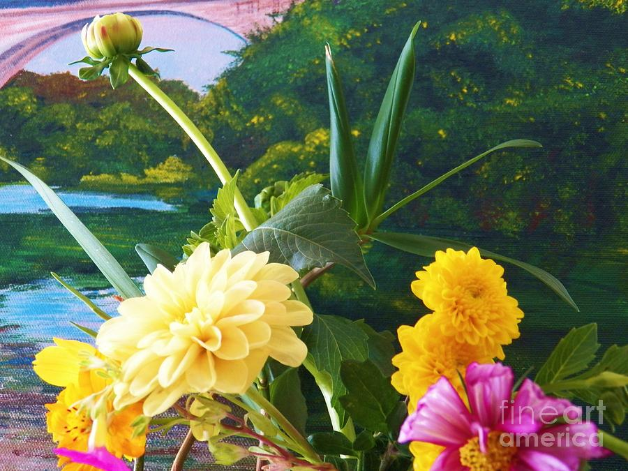 Flowers Painting - Flower River Island by Judy Via-Wolff