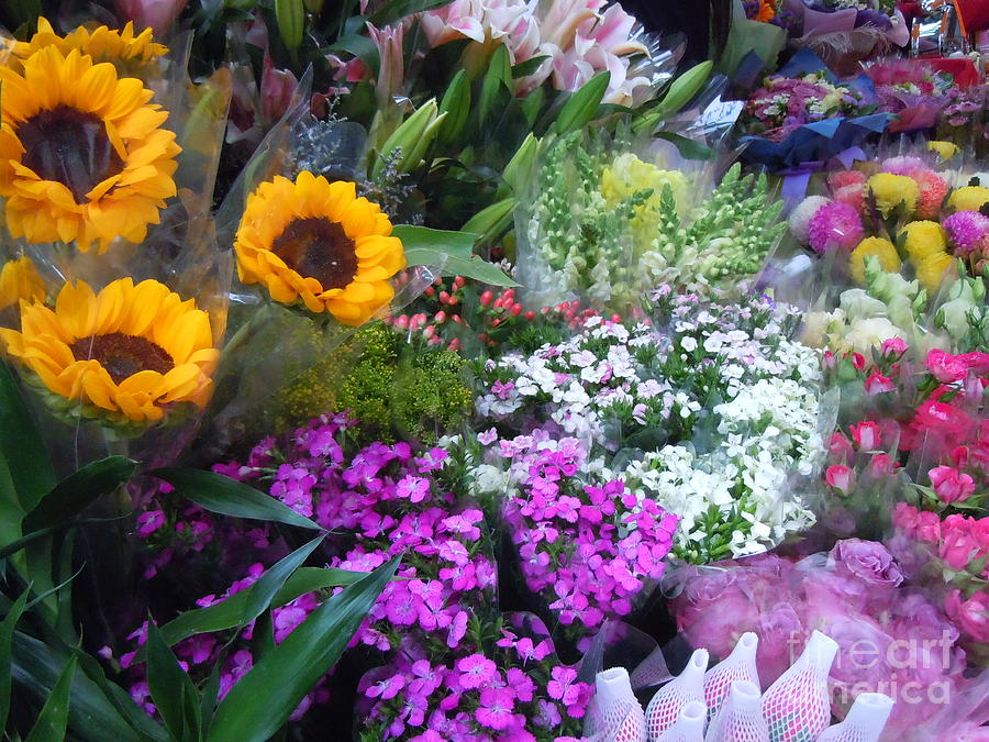 Photo Painting - Flower Stall by Lam Lam