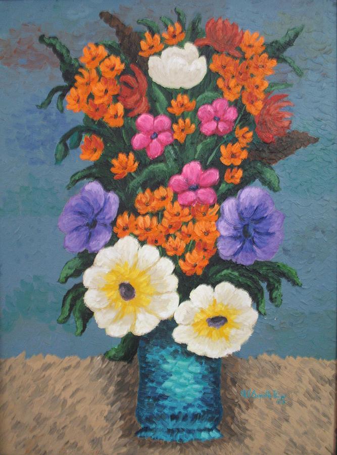 Flower Vase Painting By Sugantha Priya