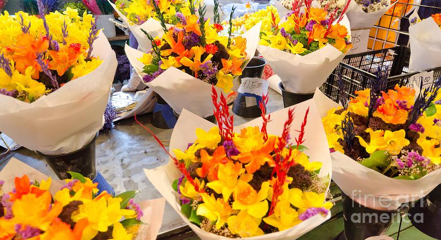 Flower Vendor Pikes Place Public Market Seattle Wa Usa Photograph