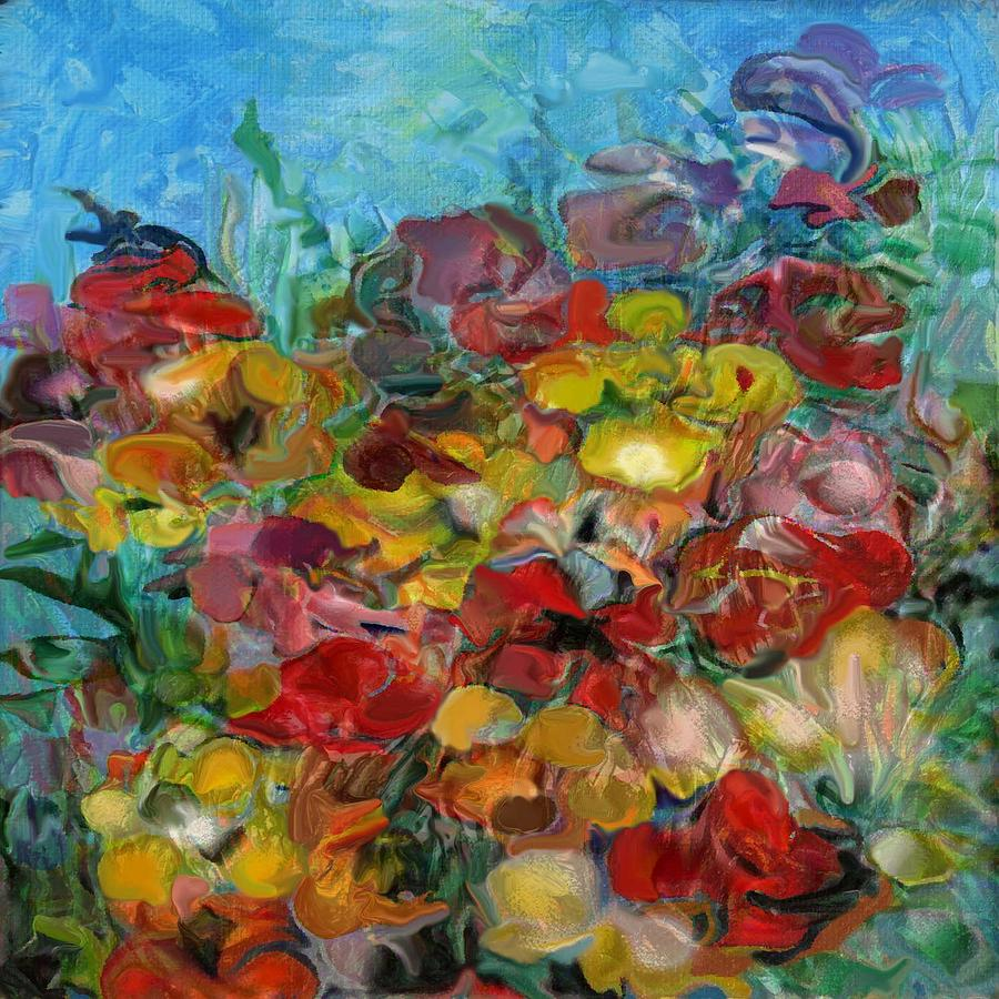 Flowers Colour Blue Red Yellow Green Painting - Flowers 2 by Eric Sosnowski