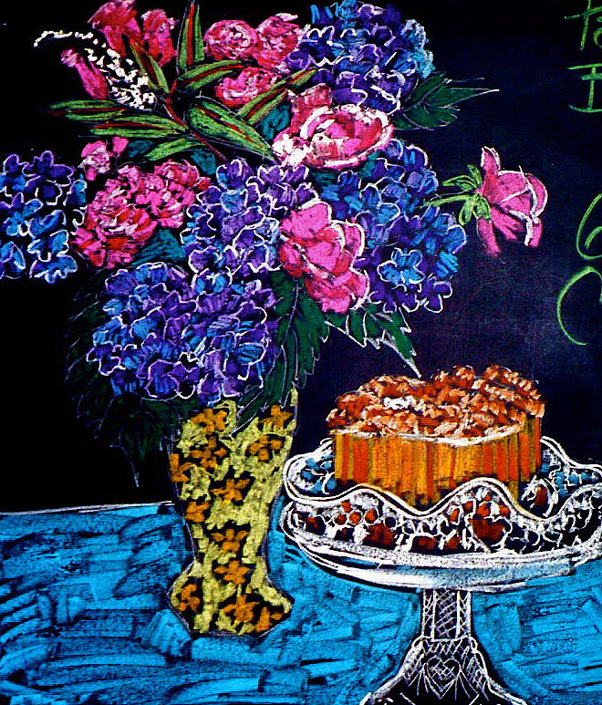 Flowers and Cake by Doris  Lane Grey