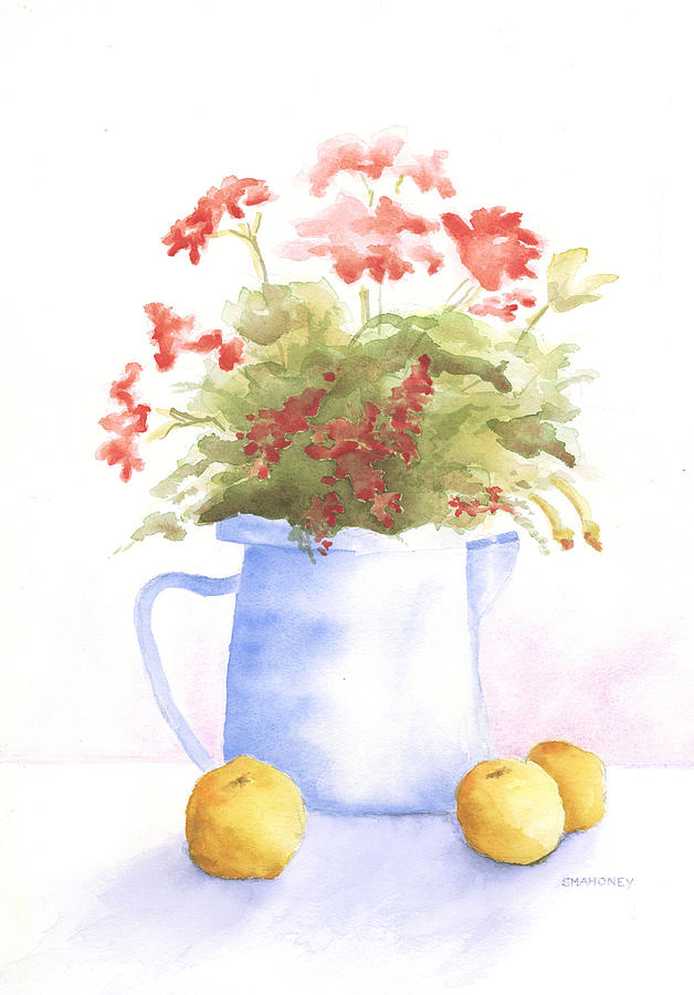 Flowers Painting - Flowers And Lemons by Susan Mahoney