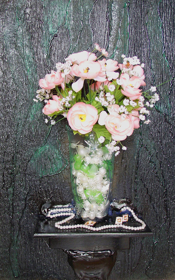 Flower Mixed Media - Flowers And Vase by Angela Stout