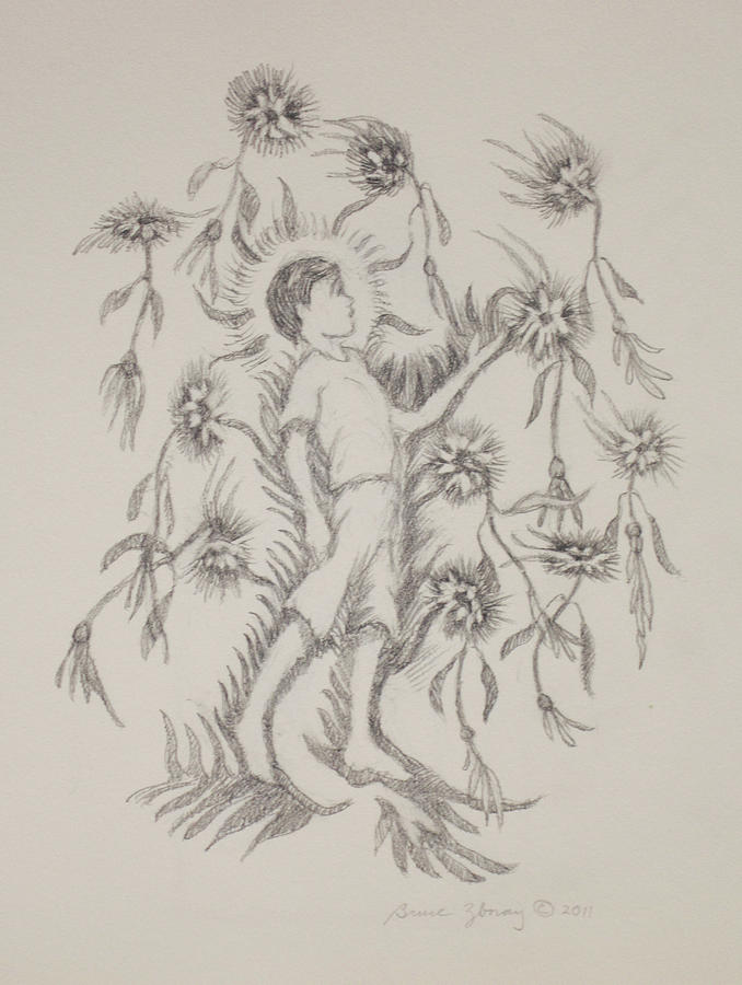 Flowers Drawing - Flowers Ascending by Bruce Zboray