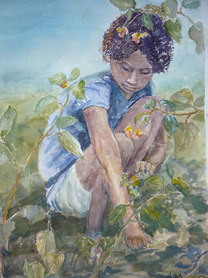 Children Painting - Flowers For Her Hair by Dorothy Herron