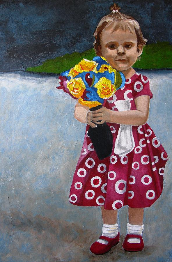 Children Painting - Flowers For Mum by Jacqui Simpson