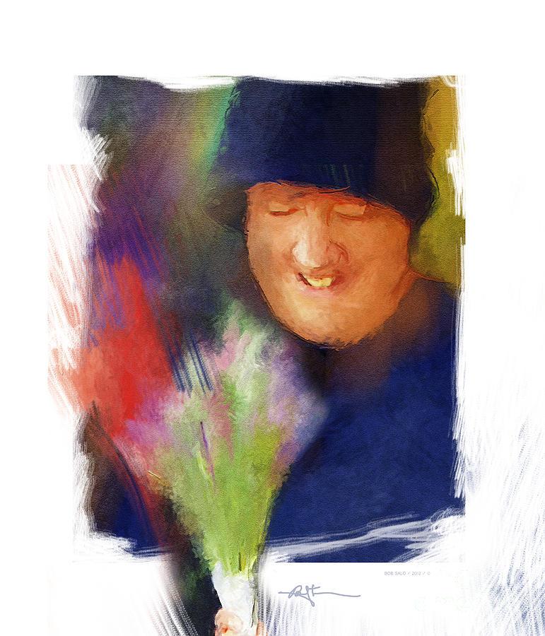 Portrait Painting - Flowers For Sale by Bob Salo