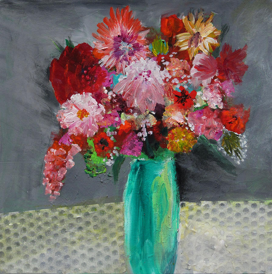 Flowers In A Green Vase Painting by Marilyn Woods