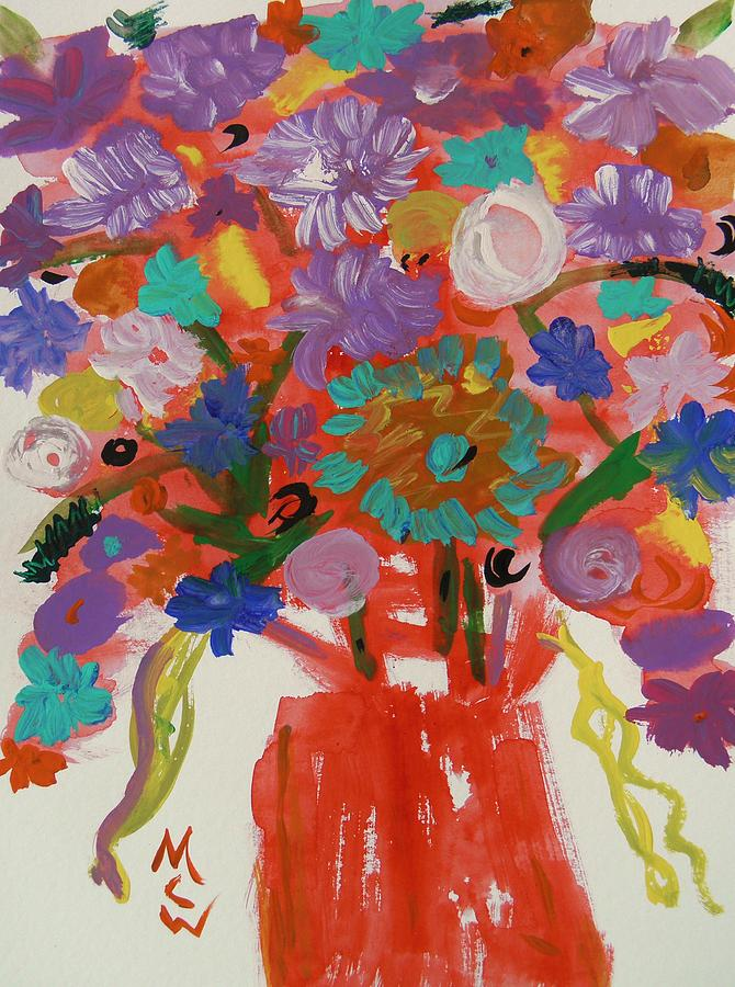 Flowers Painting - Flowers In A Wild Moment by Mary Carol Williams