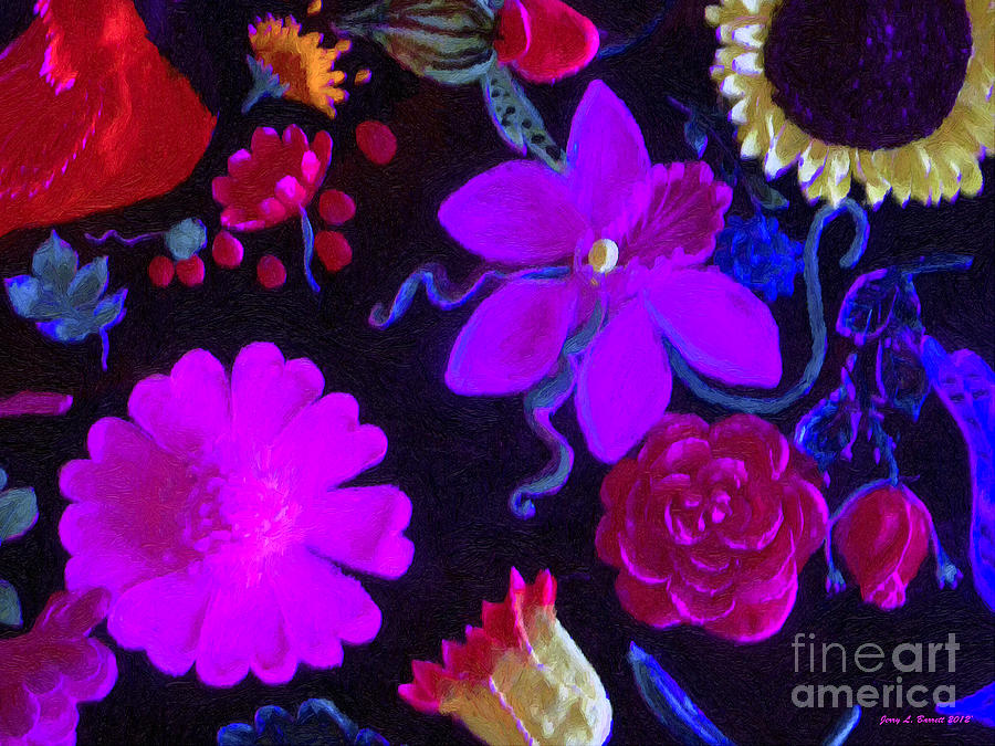 Flowers on Black by Jerry L Barrett