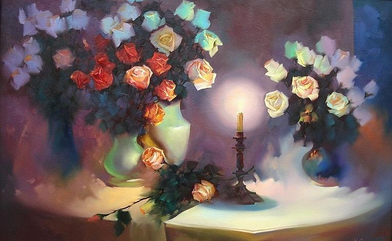 flowers roses flower floral composition still life painting by roman semesiuk. Black Bedroom Furniture Sets. Home Design Ideas