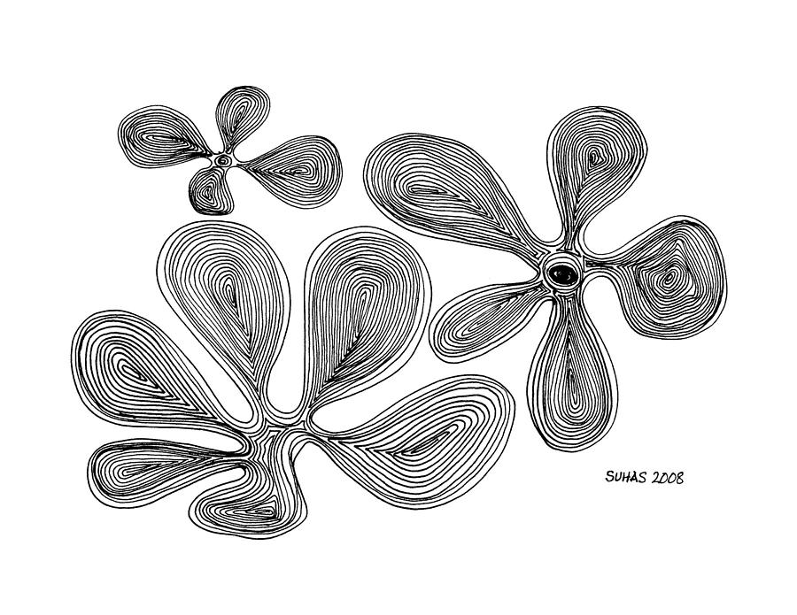 Line Drawings Photograph - Flowers by Suhas Tavkar
