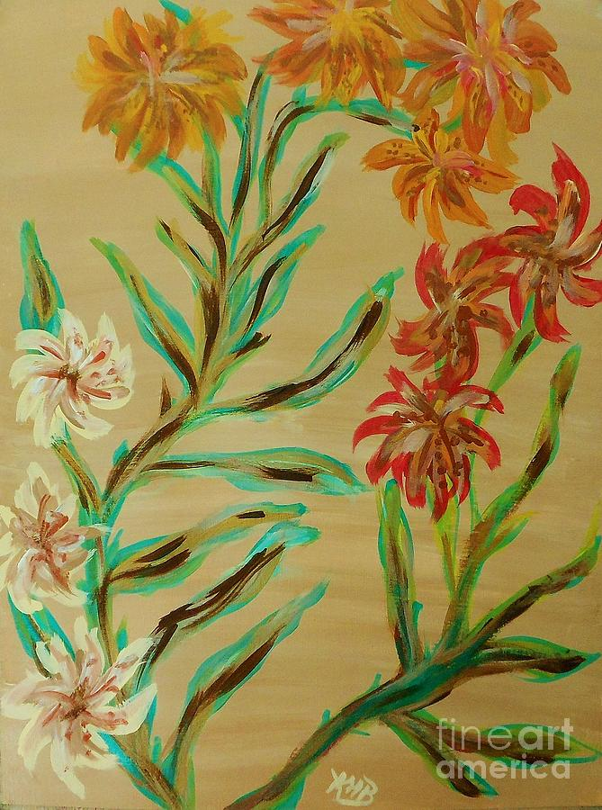 Flowers Painting - Flowers That Look Like Old Fashioned Wallpaper by Marie Bulger