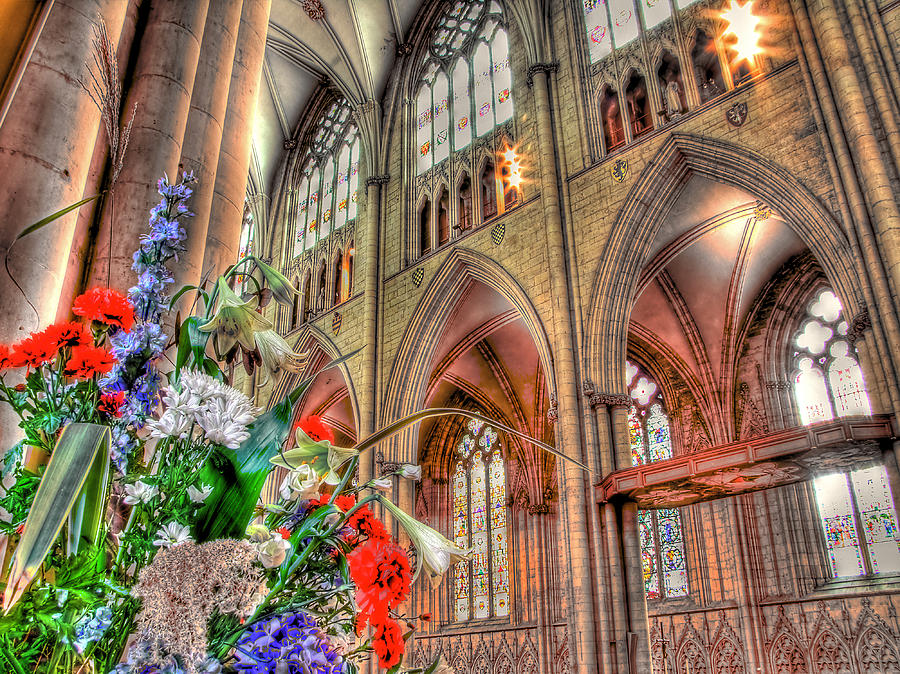 Cathedral Photograph - Flowers York Minster - Hdr by Colin J Williams Photography
