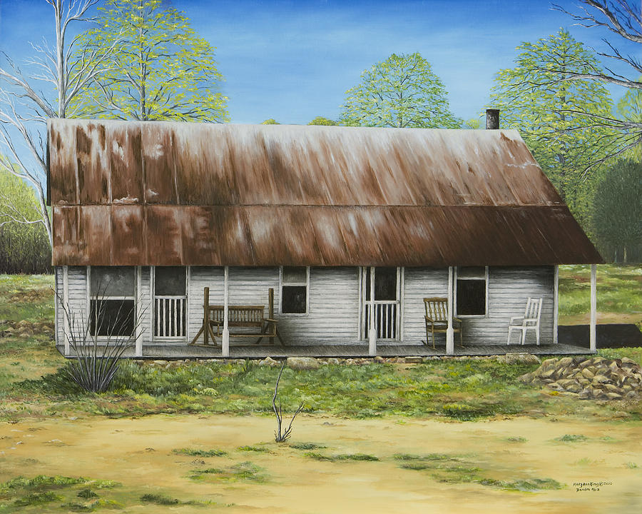 Old House Paintings Painting - Floyd Arkansas Oldest House by Mary Ann King