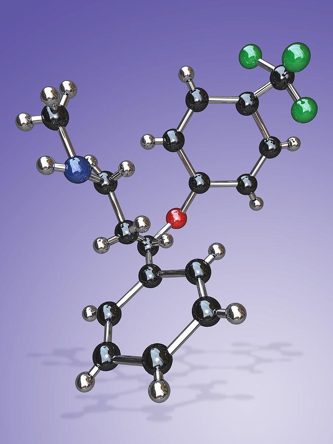 Prozac Photograph - Fluoxetine Drug Molecule by Miriam Maslo