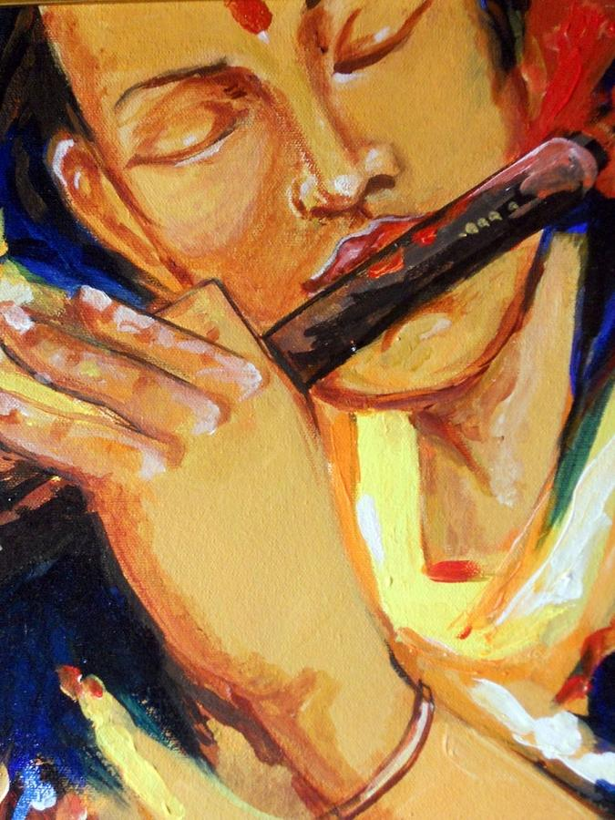 Flute Painting by Manish Verma