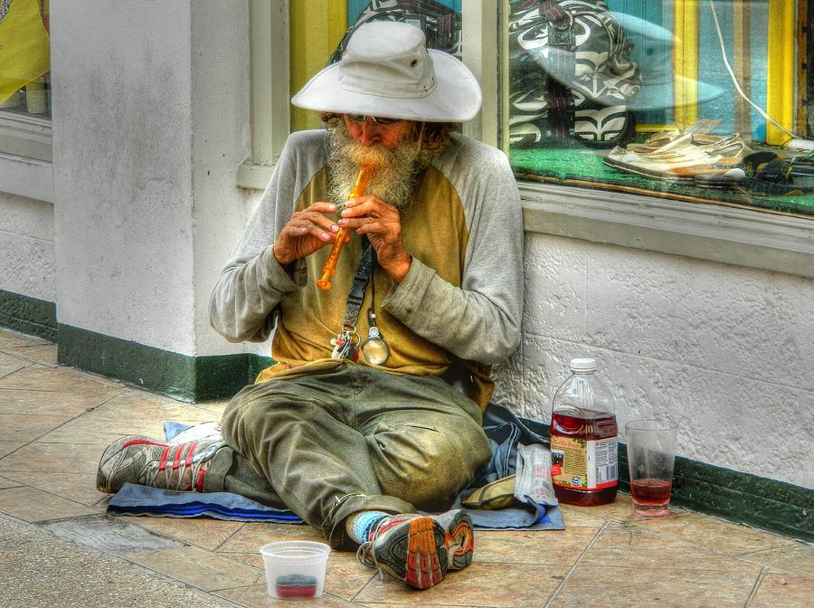 Street Photography Photograph - Flute Player by David Mcchesney