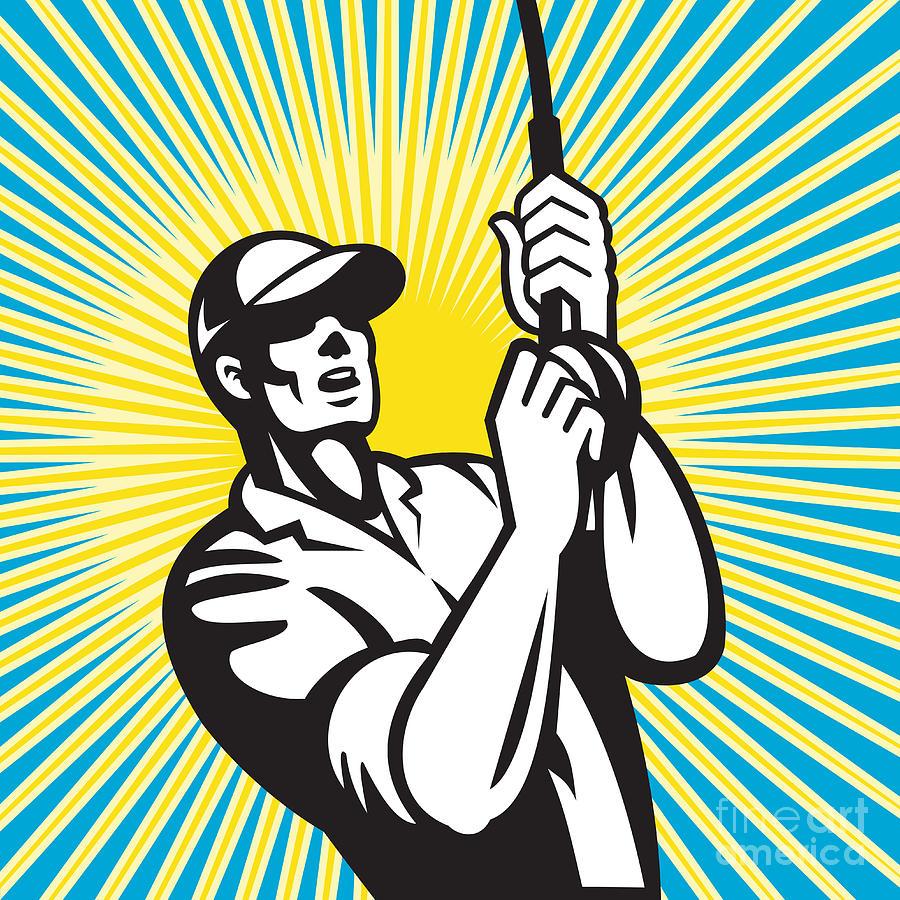 Fishing Digital Art - Fly Fisherman Fishing Retro Woodcut by Aloysius Patrimonio