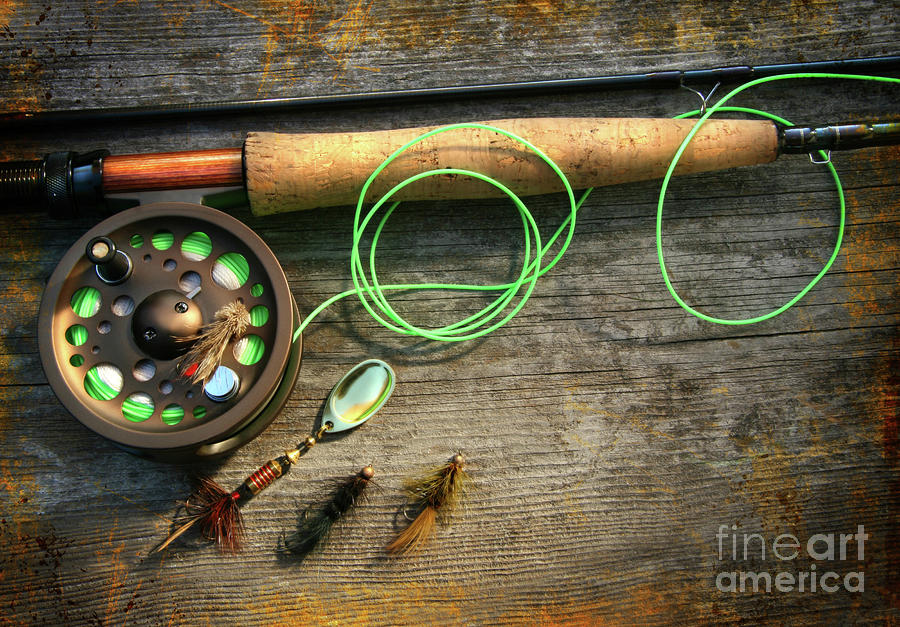 Activity Photograph - Fly Fishing Rod With Polaroids Pictures On Wood by Sandra Cunningham