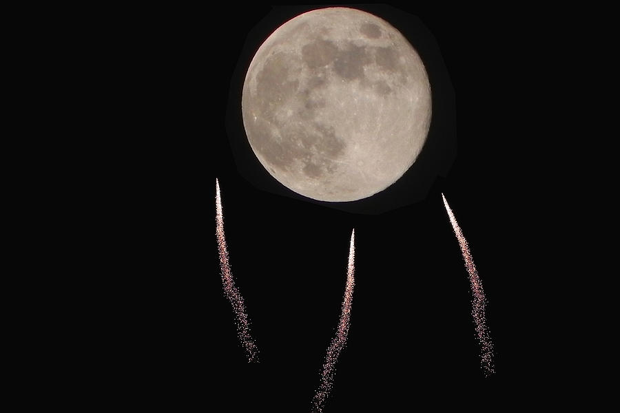 Fireworks Photograph - Fly Me To The Moon by Jesus Nicolas Castanon