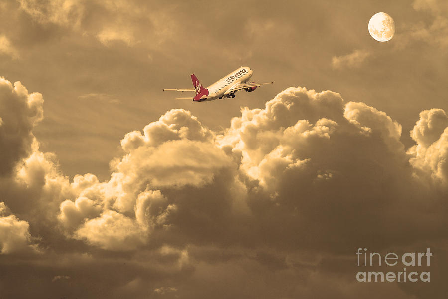 Sepia Photograph - Fly Me To The Moon . Partial Sepia by Wingsdomain Art and Photography