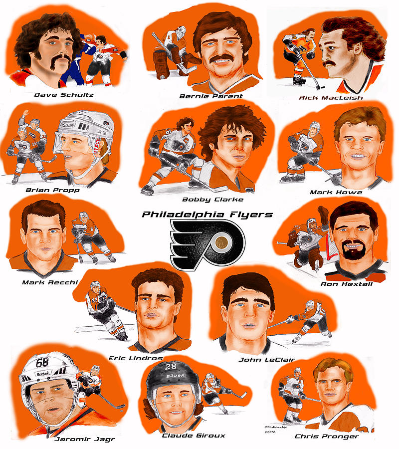 Philadelphia Flyers Drawing - Flyer Greats In Color by Chris  DelVecchio