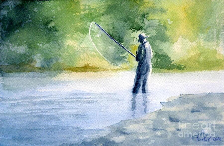 Fly Fishing Painting - Flyfishing by Eleonora Perlic