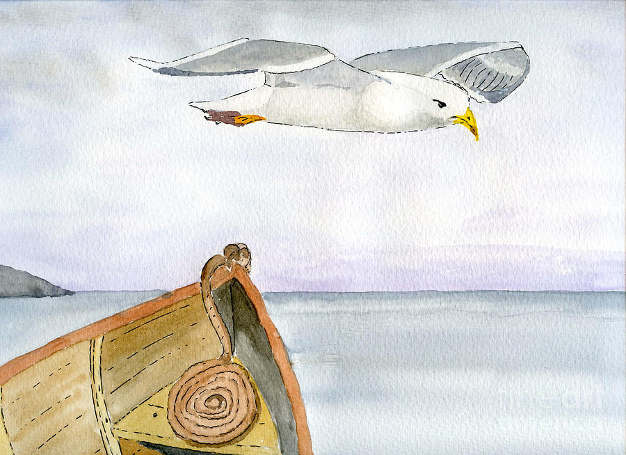 Seagull Painting - Flying Across by Eva Ason