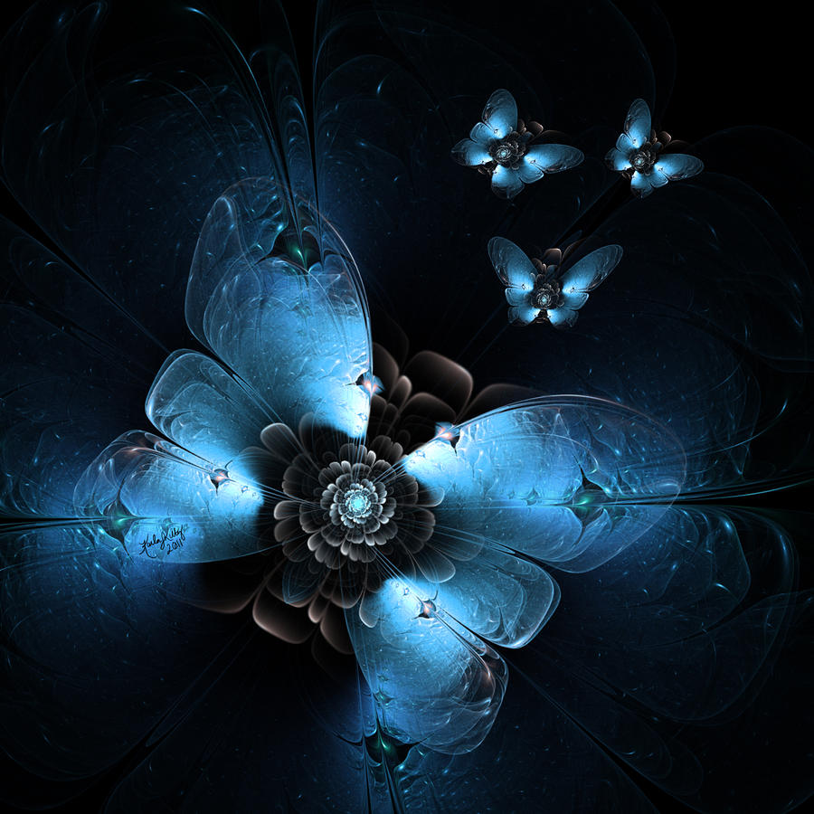 Fractal Digital Art - Flying At Night by Karla White