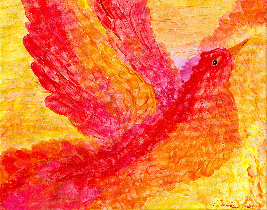 Yellow Painting - Flying Free by Denise Hoag