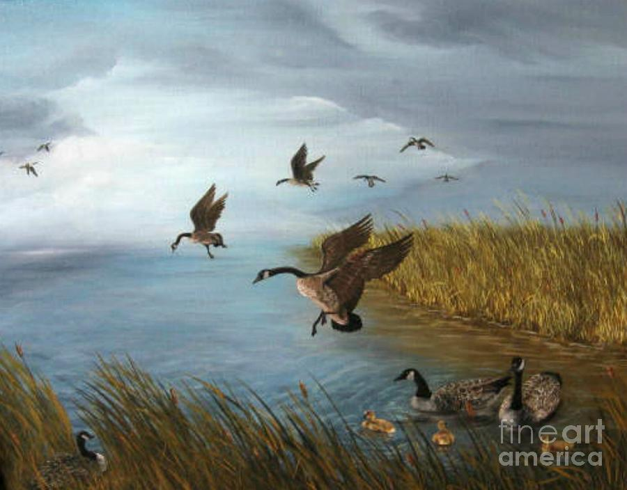 Oil Painting - Flying Geese by Patricia Lang