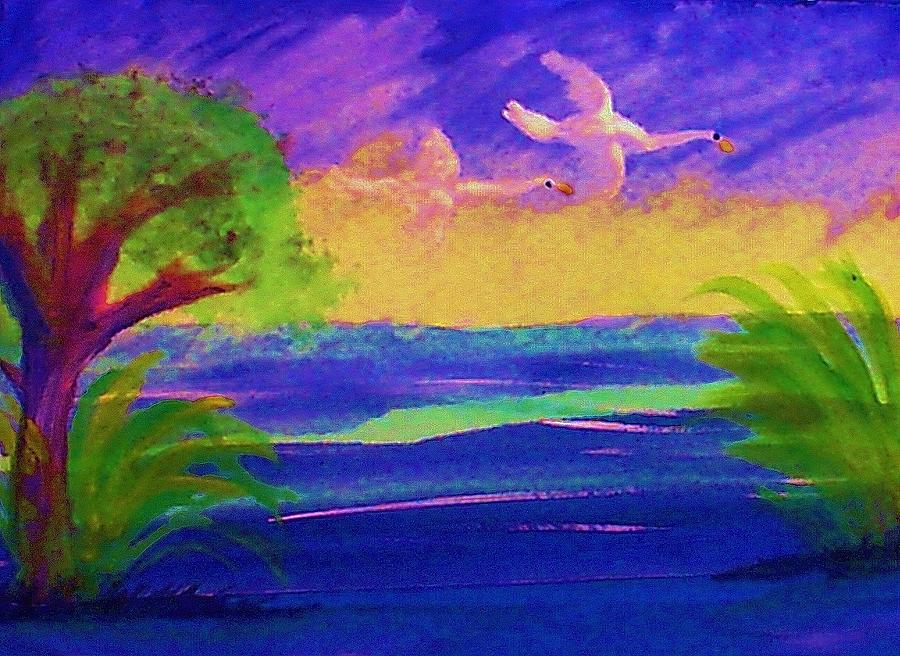 Waterscape Painting - Flying Home by Anna Lewis