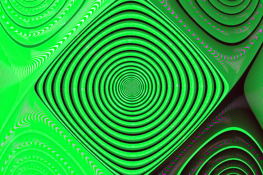 Abstract Digital Art - Focus On Green by Carolyn Marshall