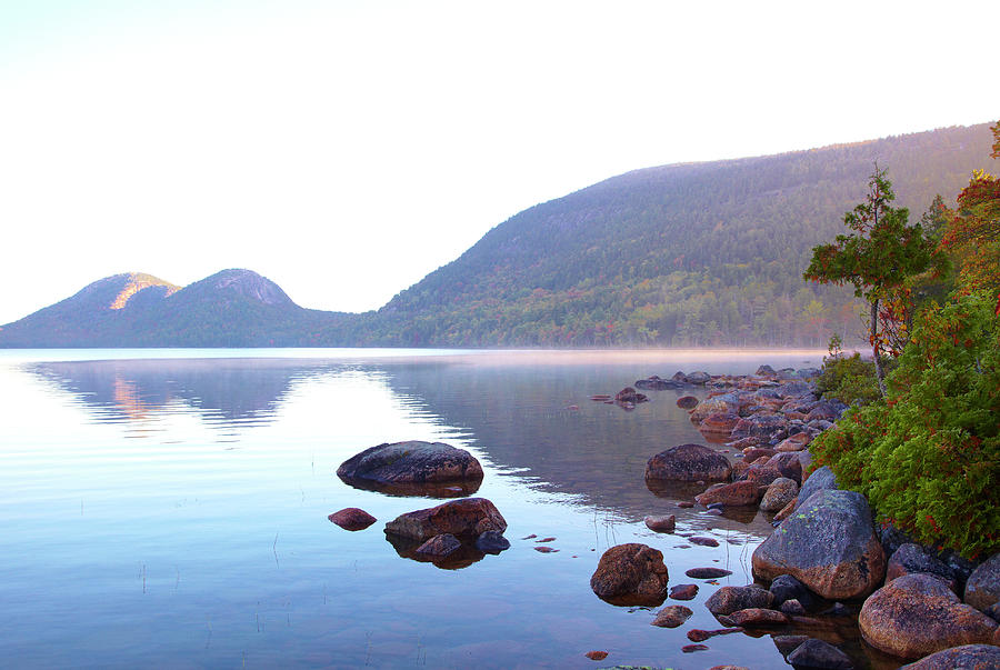 Horizontal Photograph - Fog Lifting Over Jordan Pond by Thomas Northcut