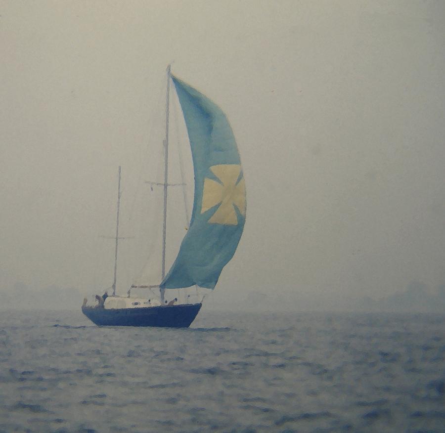 Sailboat Digital Art - Foggy Genoa by Lin Grosvenor