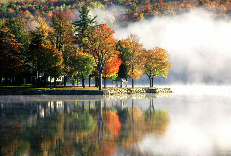 Fog Photograph - Foggy Morning on Loon Lake by Roger Soule