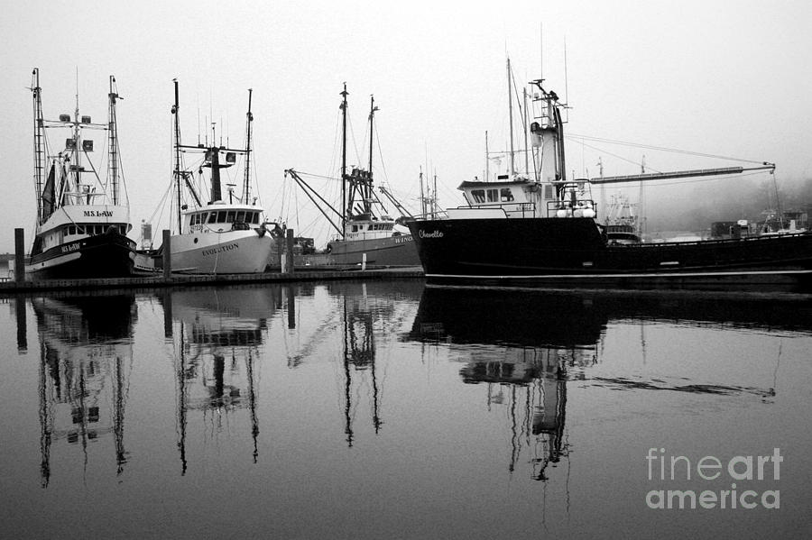 Fog Photograph - Foggy Reflections Bw by Kami McKeon