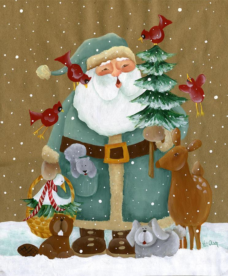 Folk Art Woodland Santa Painting By Pat Olson