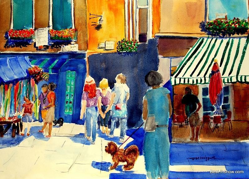 Dog Painting - Follow The Crowd by Joe Hedgpeth