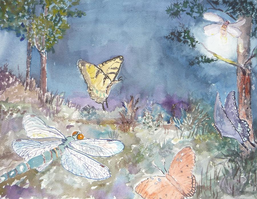 Garden Painting - Follow The Firefly by Dorothy Herron