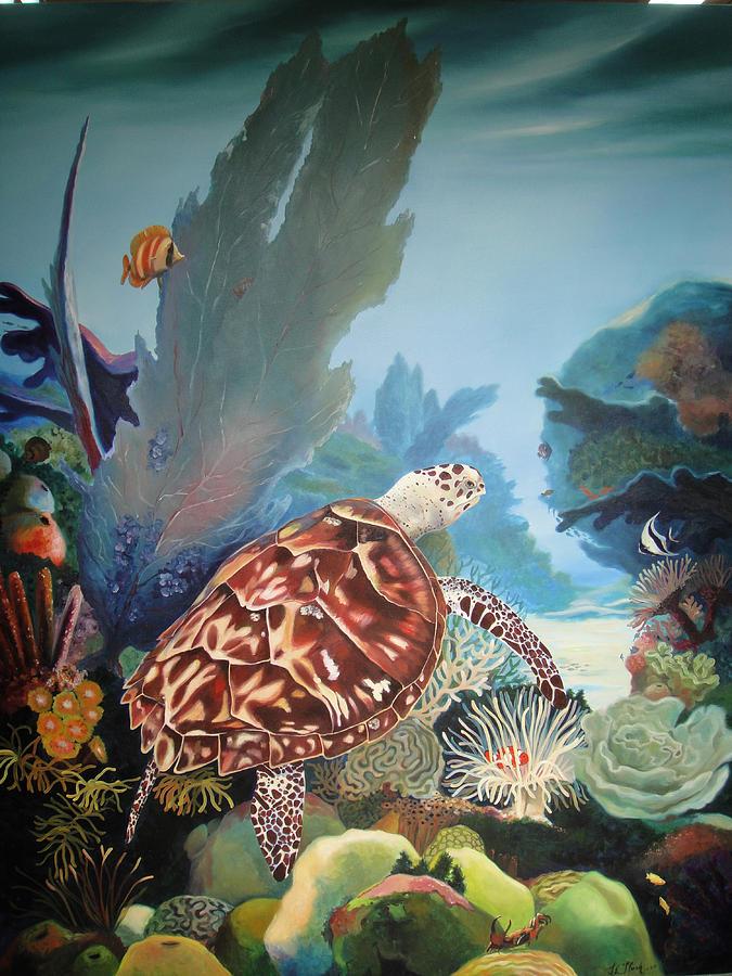 Seascape Painting - Fondo Marino by Jose Romero